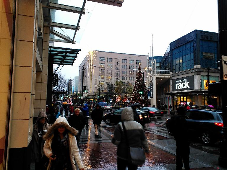 It was raining in downtown Seattle.
