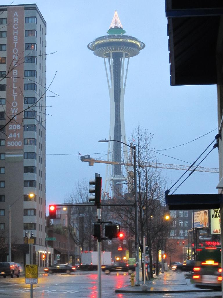 The Space Needle as seen from Fifth Street.