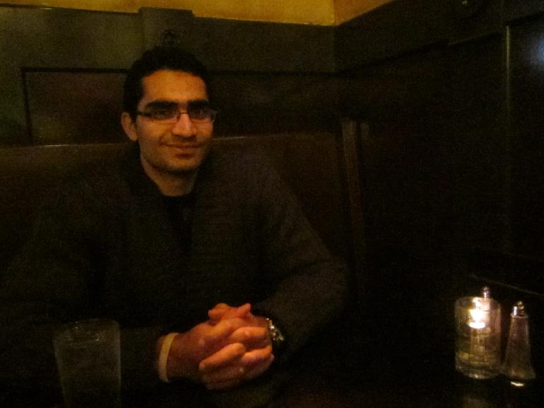 Mehdi inside the Paragon Restaurant & Bar in the Queen Anne district, where we had dinner and listened to live music.