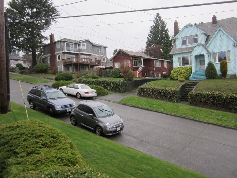 My Fiat 500 rental car in the Magnolia district of Seattle. (December 20, 2012)