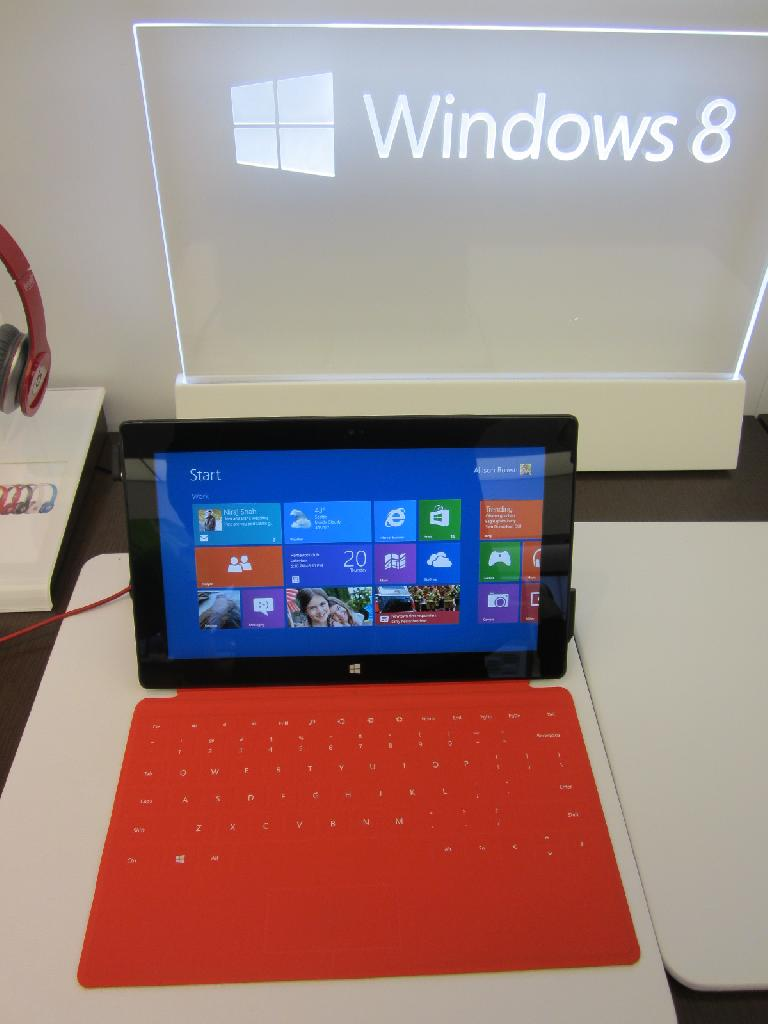 The Microsoft Surface with a red touch cover. (December 20, 2012)