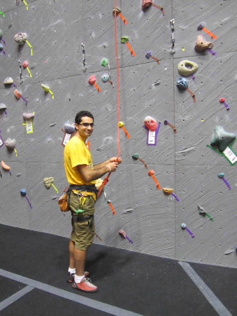 Mehdi climbing inside Vertical World in the Queen Anne district. (December 20, 2012)