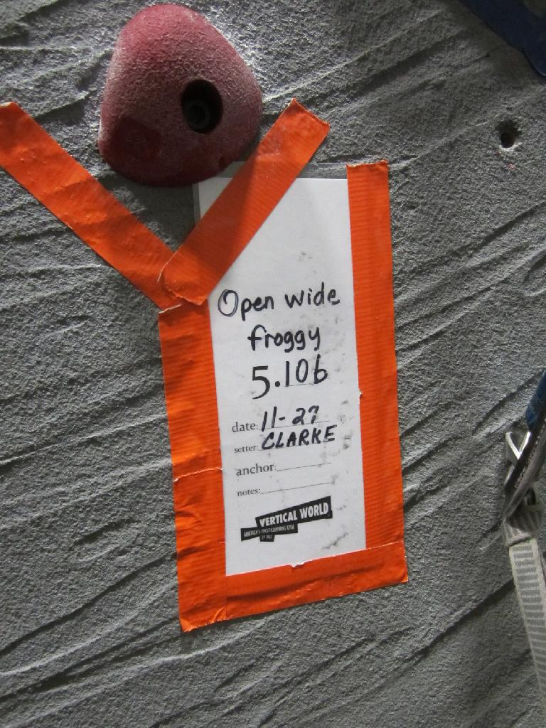 "One of the climbs we did included this 5.10b called ""Open wide froggy."" (December 20, 2012)"