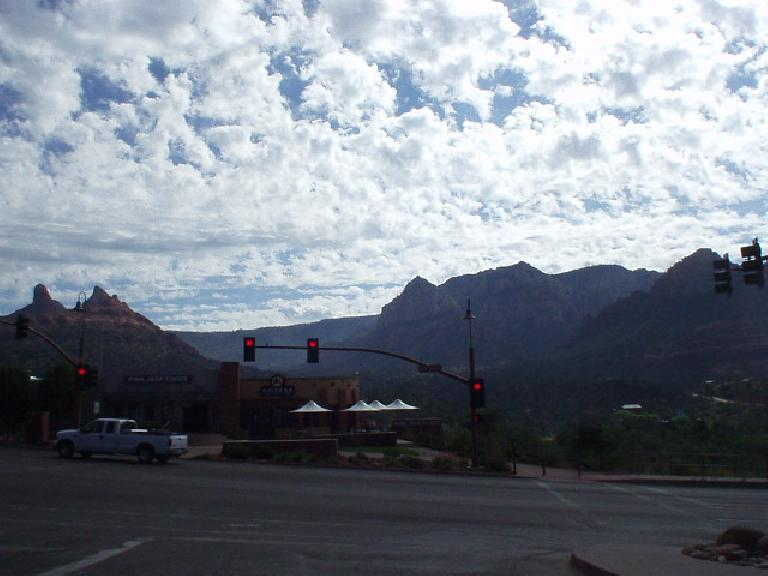 """Sedona had something of a downtown, with strict building codes so that even stores like Safeway and McDonalds (not shown) fit in with the """"red rock"""" theme."""