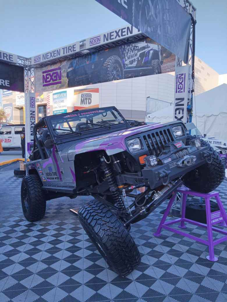 A Jeep modified so that it could really take on boulders in the backcountry.