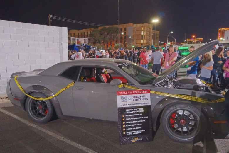 This 1000+ horsepower Dodge Challenger built by Quintin Brothers Auto and Performance in Vermont was stolen in Las Vegas days before SEMA. It was crashed and then recovered by police, and put on display at SEMA.