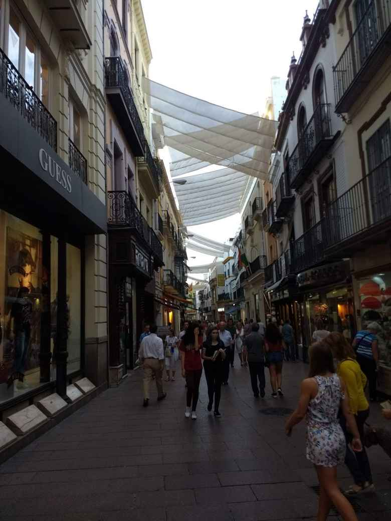 One of the trendier shopping districts in Seville.  This is near Seville University.