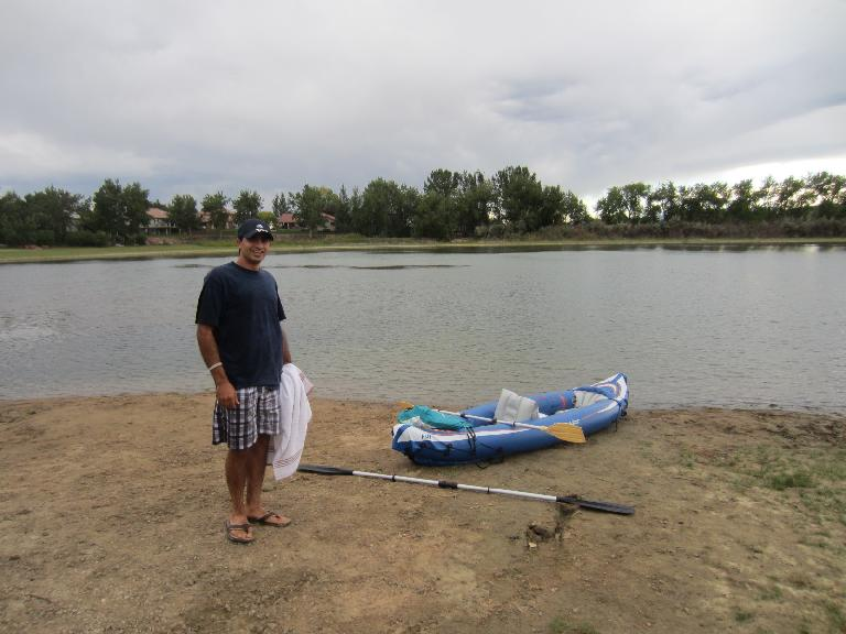 Mehdi after paddling and sailing with me along the entire length of Richard Lake. (September 3, 2012)