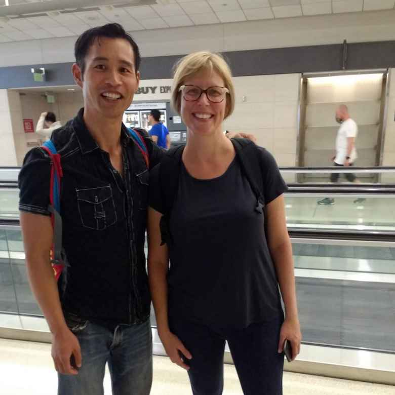 What a nice coincidence! While at the San Francisco International Airport, it turned out that my former cycling buddy Debby (from 18 years ago) who now lives in the UK was at the adjacent gate!