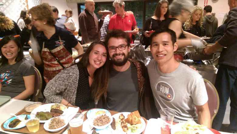 Eating delicious food at an Armenian Festival in San Francisco with Diana and Robert.