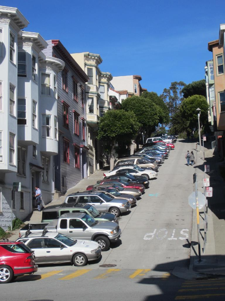 Walking up a steep hill to Telegraph Hill.