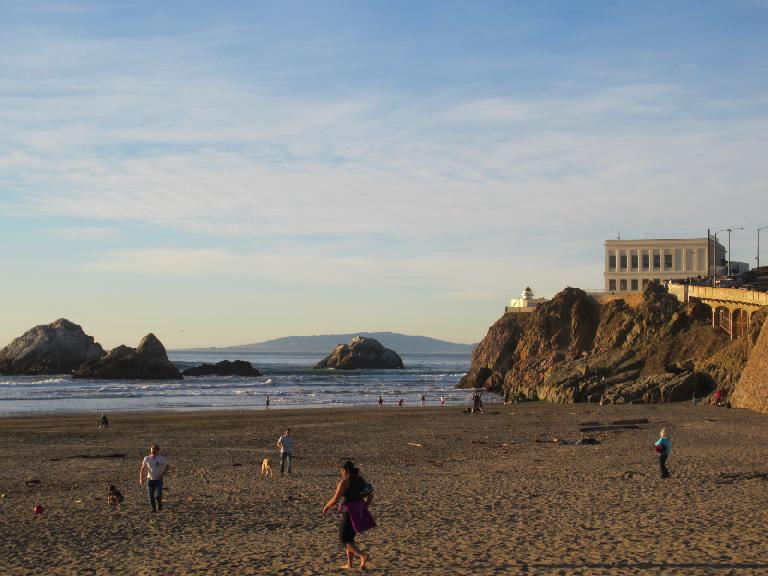 The beach by the cliff House.