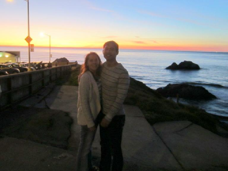 With my sweetie and sunset and rocks.