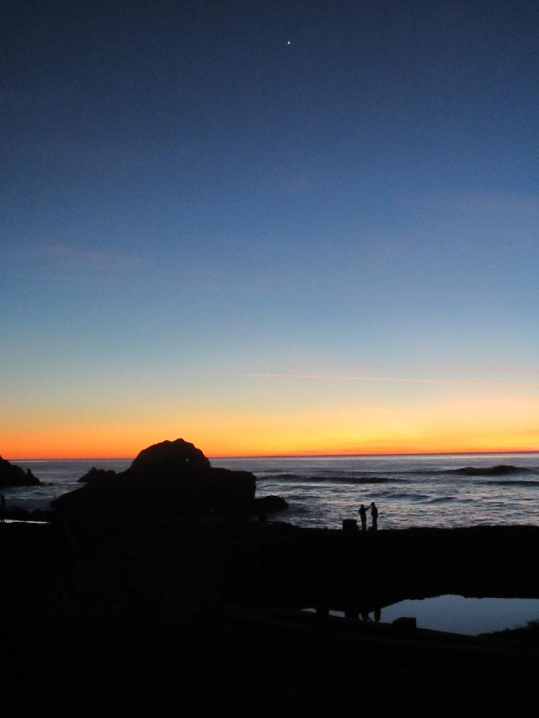 The Sutro Bath Ruins with a sunset behind.