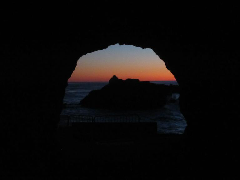 The view from inside the cave at the Sutro Bath Ruins.