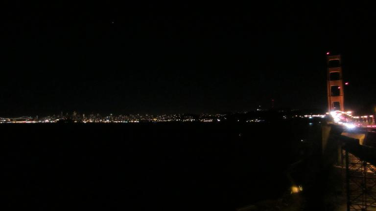 The lights of San Francisco and the Golden Gate Bridge from Sausalito.