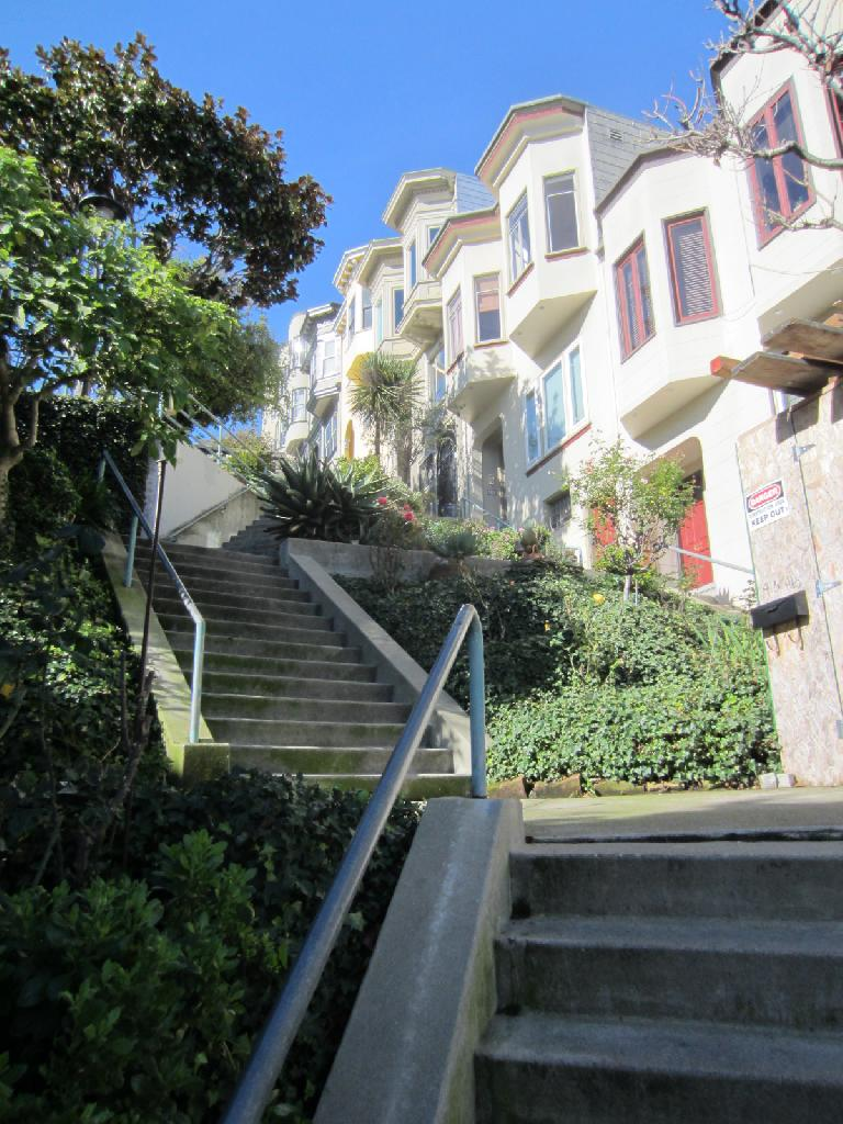 Walking through the Vallejo St. gardens near Telegraph Hill.