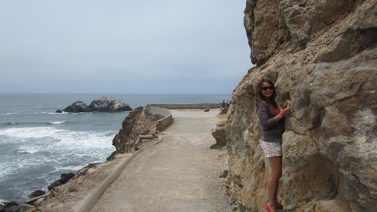 Katia using her rock climbing skills.