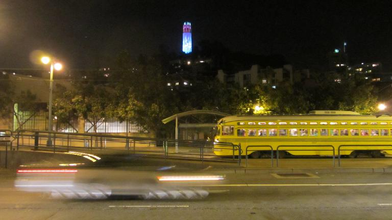 Coit Tower was lit up in red, white and blue during Fourth of July week.
