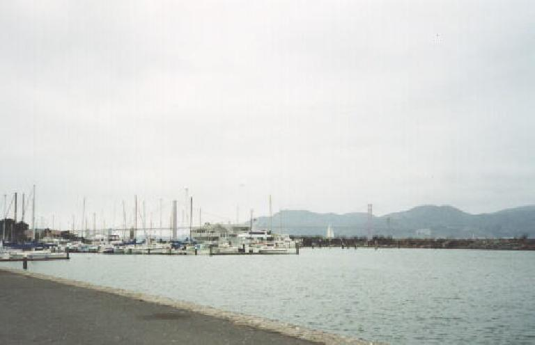 The marina area with the Golden Gate Bridge in the background.