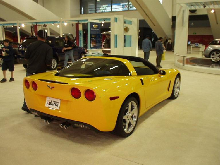 At the San Francisco International Auto Show (my first time going), GM had an entire display of every generation of Corvettes.  Here is the latest, 6th generation, which is a foot shorter than the 5th.  I like it!