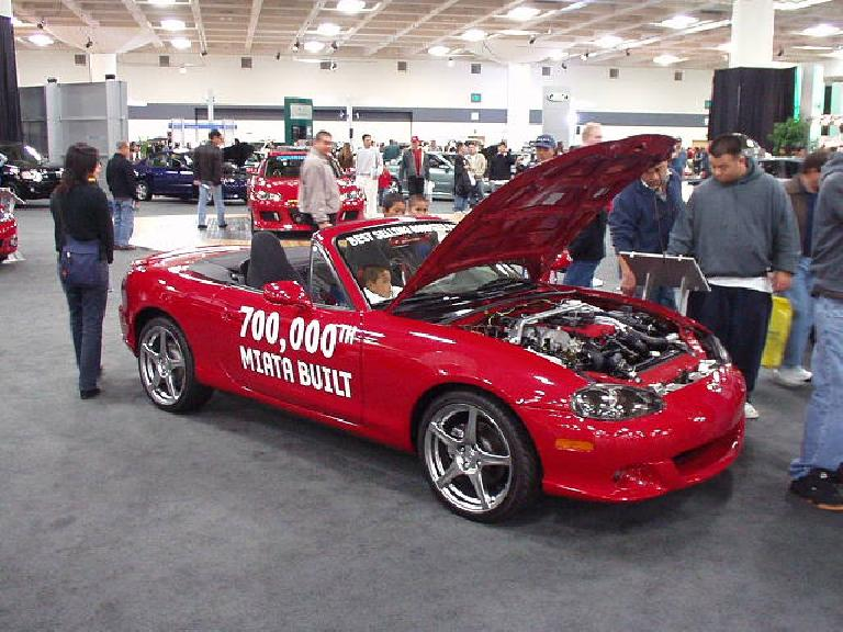 At under $20k, the Solstice will be good competition for the Mazda Miata.  Shown here is the 700,000th Miata produced--a car that has totally gained my respect and appreciation for over the years.