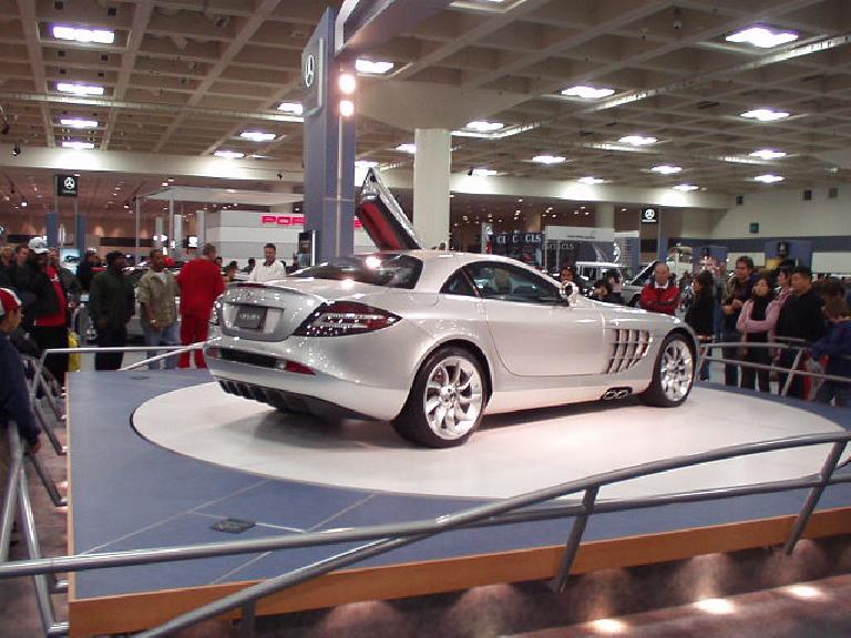 One of the supercars of the show: a Mercedes gullwing.