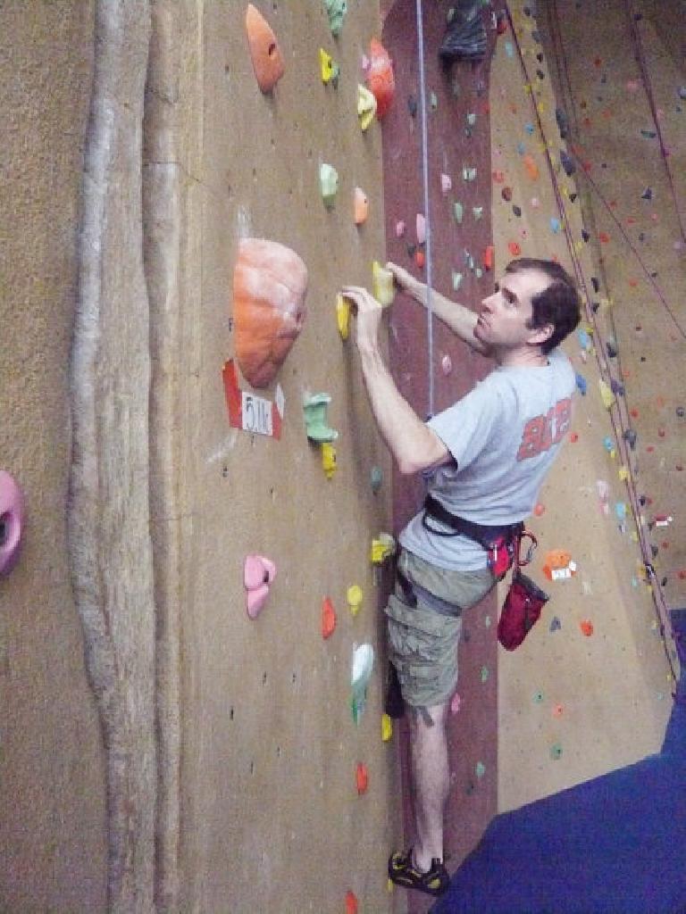 Bryan climbing at Planet Granite San Francisco. Photo: Alyssa Umsawasdi. (July 12, 2009)