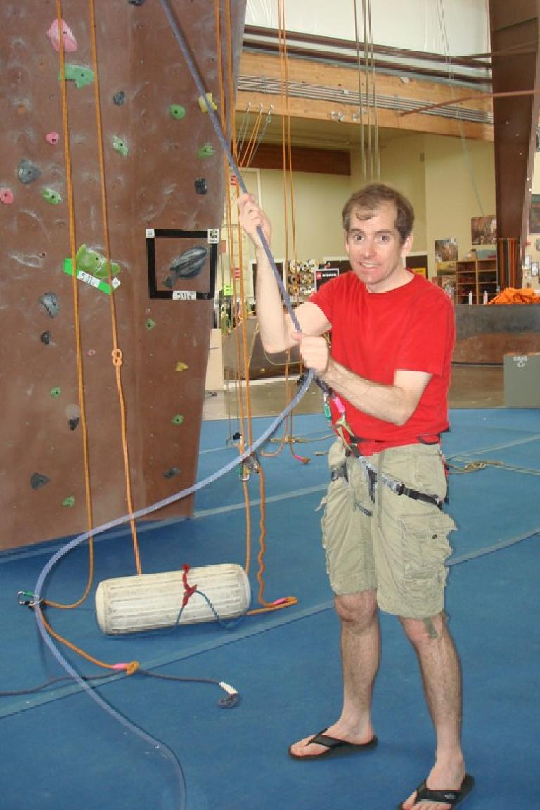 Bryan belaying at Planet Granite Sunnyvale. Photo: Stacey Collver.