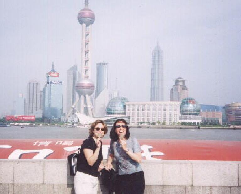Karen and Martrese eating mint (or was it coffee?) ice cream at the Bund.
