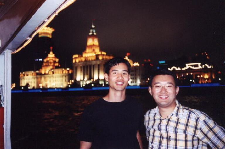 Felix Wong and Sam on the cruise boat. (June 7, 2002)