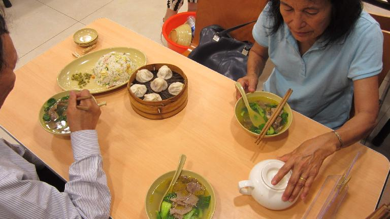 Having a nice low-key dinner with my folks, including soup, rice and dumplings. (May 16, 2014)