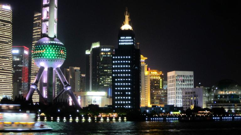 The Oriental Pearl Tower and other buildings in Puhong at night. (May 23, 2014)
