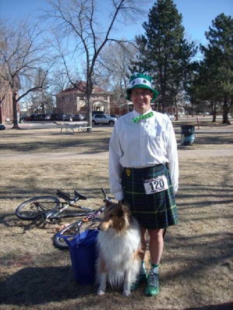 Scott (whose kilt was appropriate for this Irish tradition) and dog after the race.