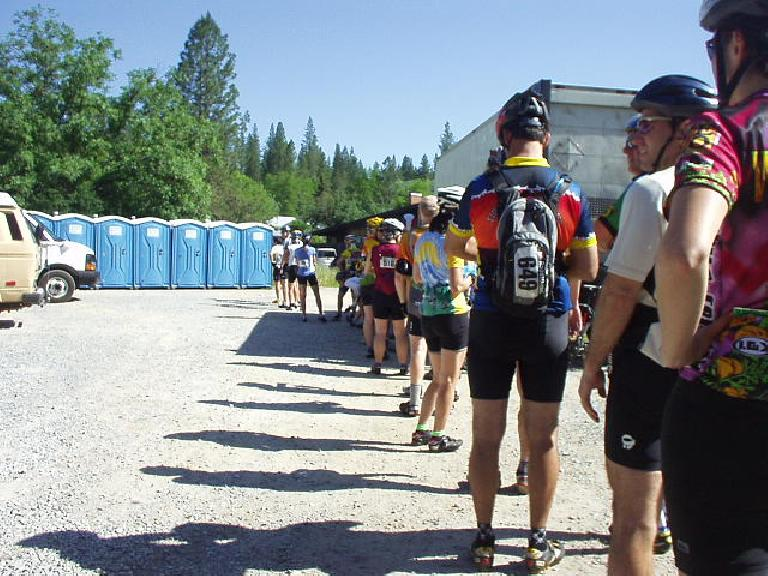 [Mile 43, 9:30am] Long lines to the porta-potties were common in this ride, especially at the first rest stops.