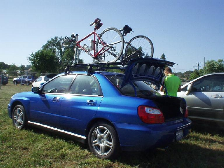 AJ's Suburu introduced me to the convenience of having a roof-mounted bike rack.  After the ride AJ even let me drive his WRX back to Fremont; a fun car to drive!