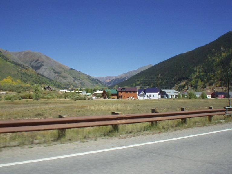 Homes in the shaodws of mountains in Silverton.