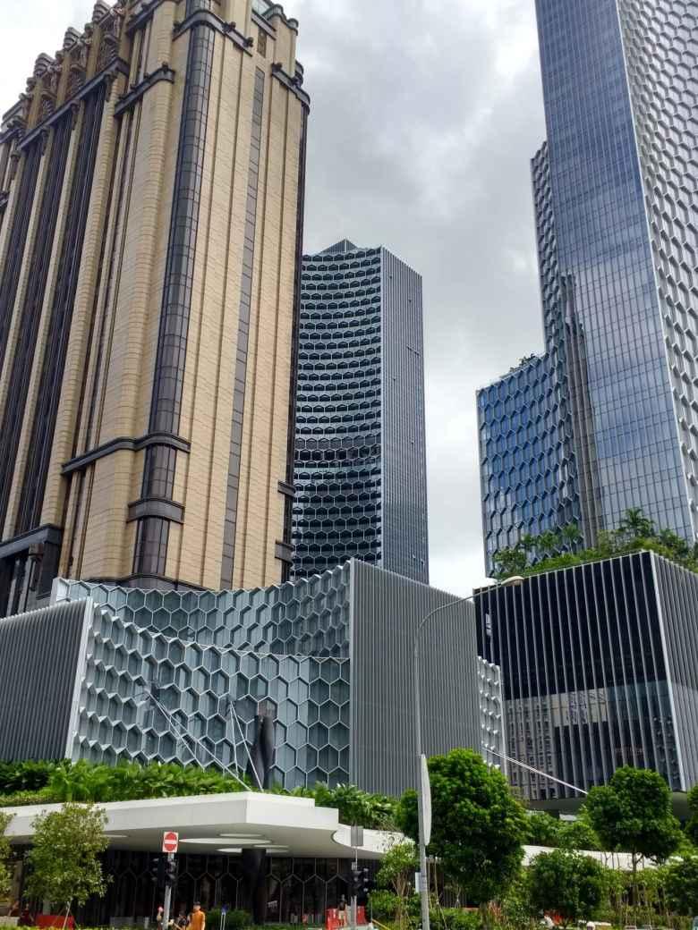 Modern skyscrapers blocks away from Marina Bay in Singapore.