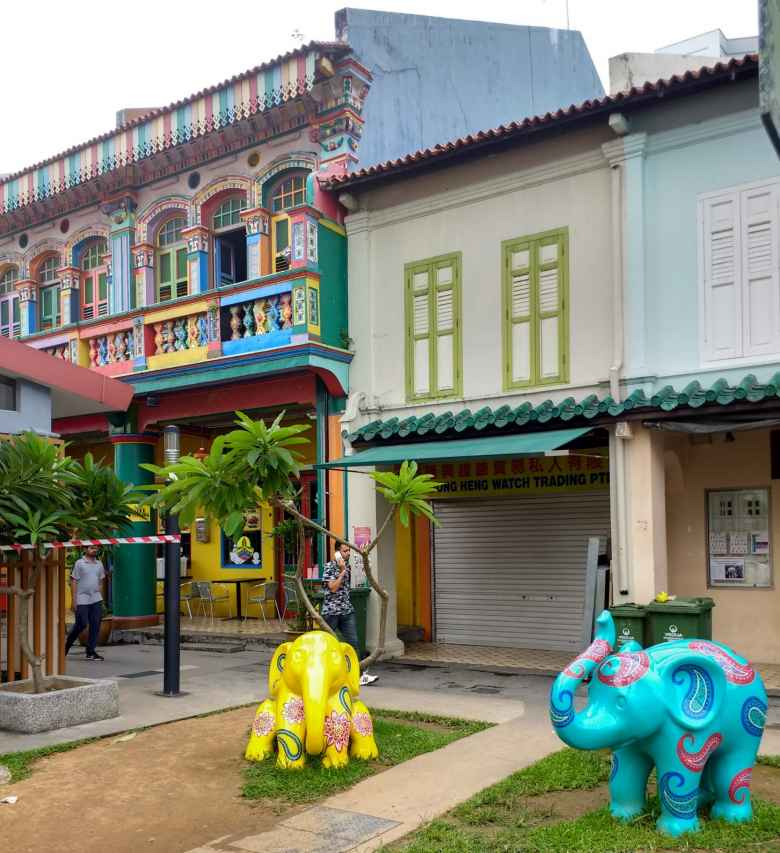 Colorful buildings and elephants in Little India, Singapore.