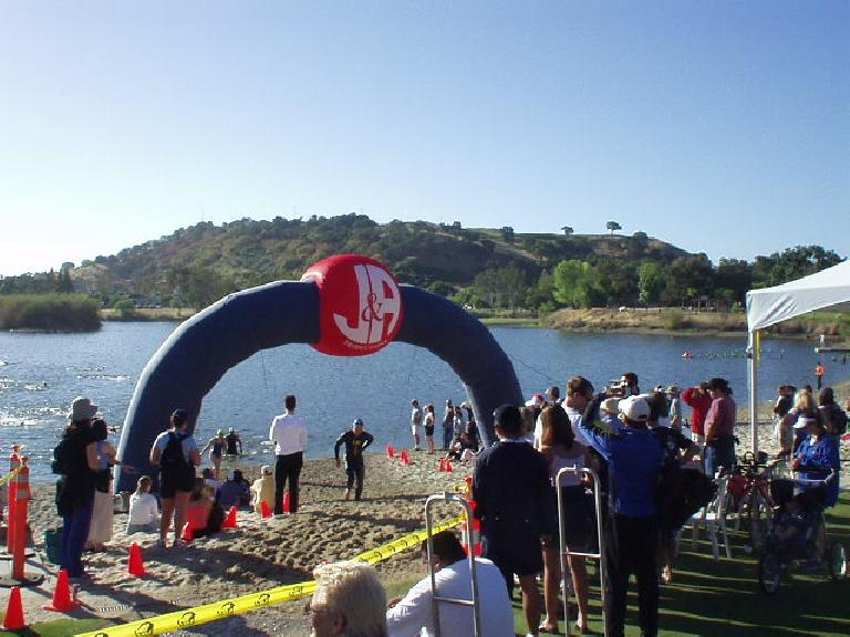 Today I was a spectator at the San Jose International Triathlon.  I arrived just as Lisa and Sharon were exiting the transition zone on their bikes and others were coming out of the water.