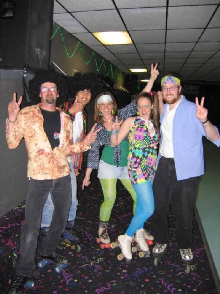We embraced the 70s theme by dressing up.  There's Wendy, Ryan, Jesse, Tanya and Felix.