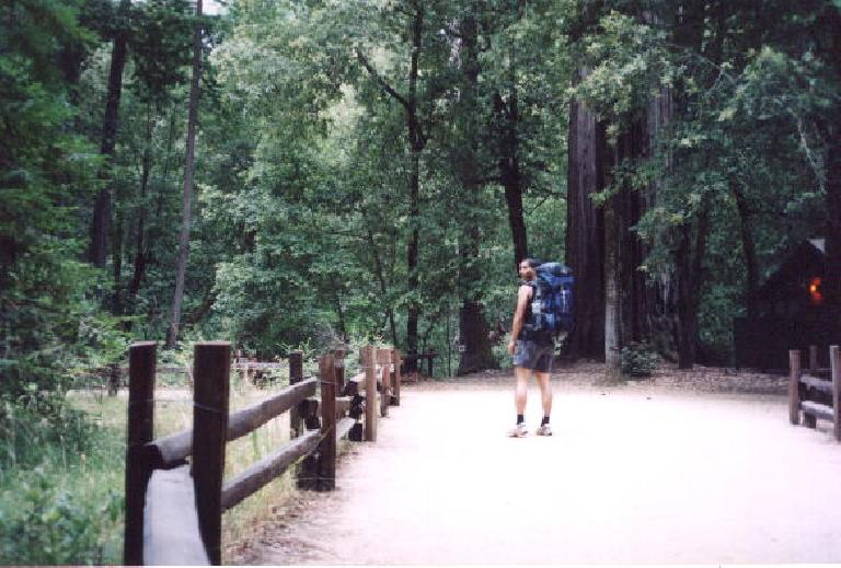 Mile 0: Felix, just outside of Big Basin headquarters at 7:30am, ready to begin his crazy 71-mile 2-day backpacking trip.