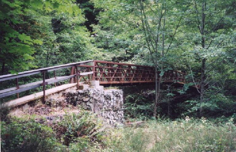 """Mile 10: After doing some """"extra-credit"""" miles to Silver and Golden Falls and beyond, it's back to the trail along Waddell Creek.  This is an old bridge."""