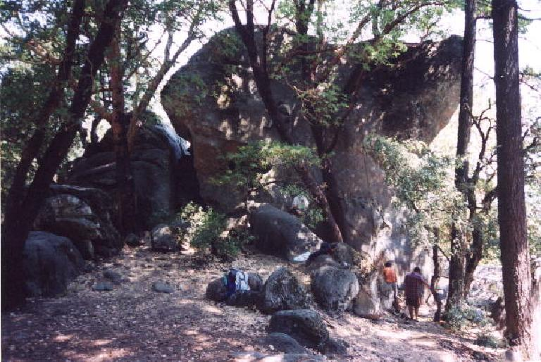 Mile 51: I made a detour to Indian Rock, where there were a few rock climbers that I, unfortunately, did not know. (July 28, 2002)