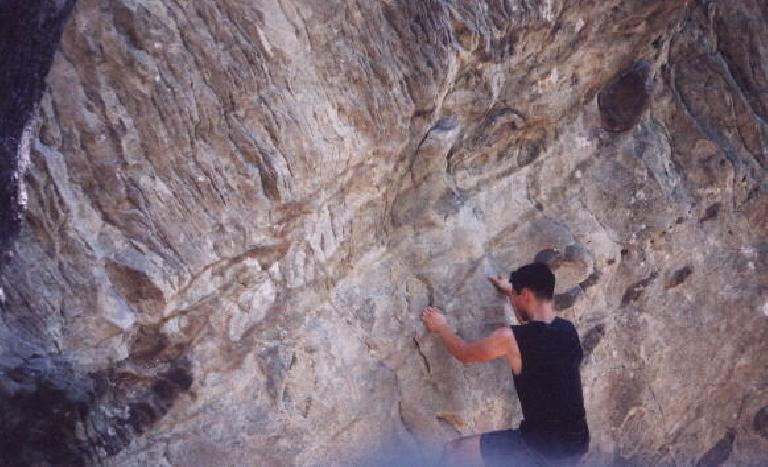 Mile 53: I made another detour to Goat Rock, where I stopped nearby to do some bouldering of my own. (July 28, 2002)