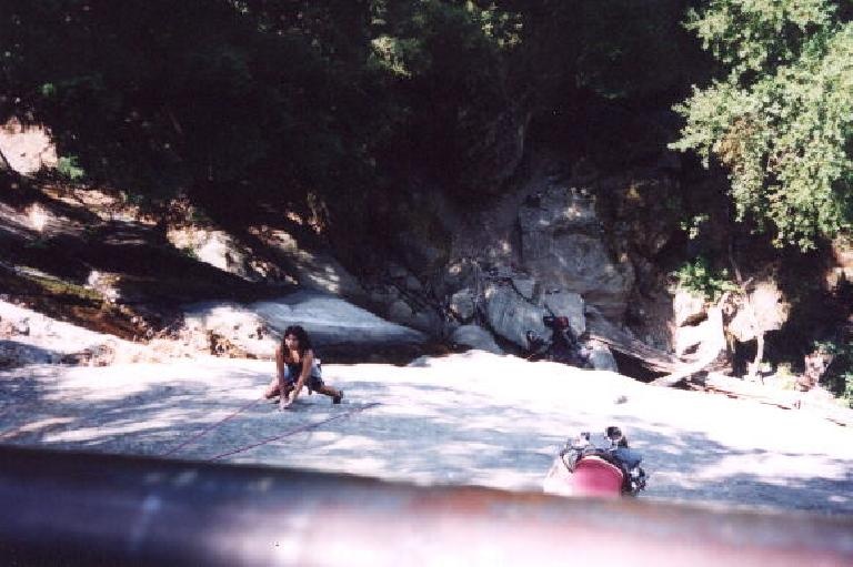 Mile 56: Back on the Saratoga Gap Trail, some climber chicks were really putting on a show at the Castle Rock Falls. (July 28, 2002)