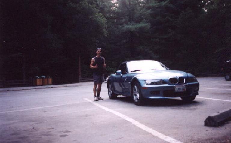 Mile 71: Finished!  Felix Wong and Lina at Big Basin HQ parking lot after a successful journey! (July 28, 2002)