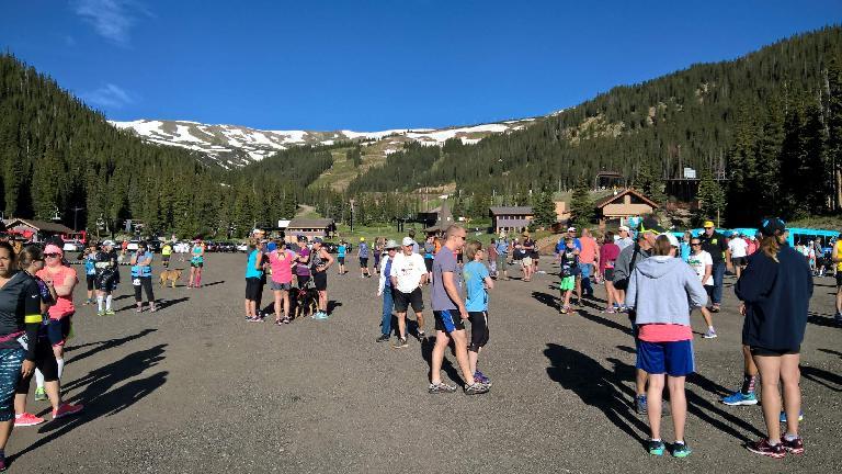 Runners at Loveland Ski Resort, the start of the Slacker Half Marathon.