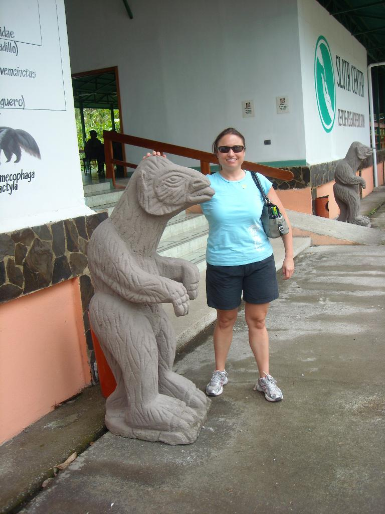 Raquel with a tonguey sloth.