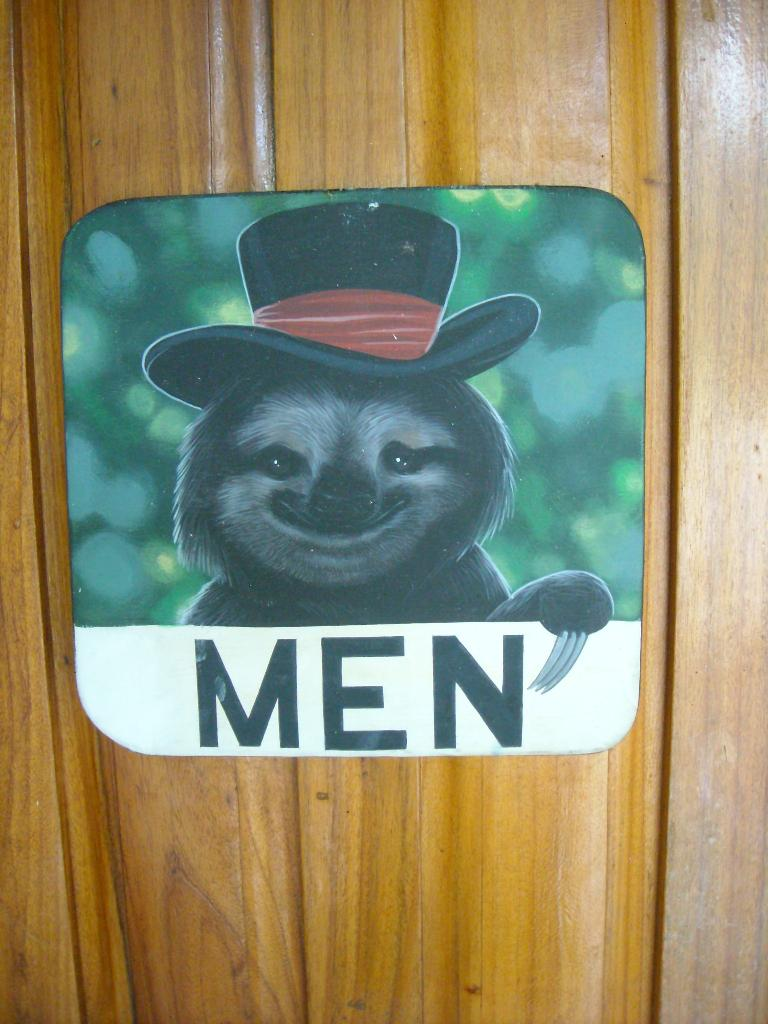 I liked this sign for the men's bathroom.